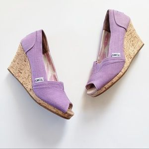 Toms Purple Canvas Wedge